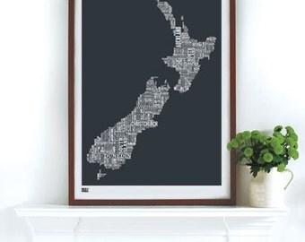 New Zealand Type Map - decorative screen print