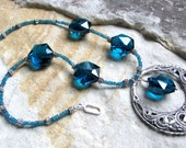 Teal Apatite and Crystal Necklace