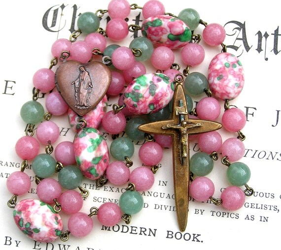 Catholic Rosary Necklace, Vintage Crucifix Rosary, Pink & Green, Gemstone Prayer Beads, Catholic Gift, Heirloom Jewelry