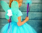 Trinity Tutu Set - SEWN Tutu, Wings, and Fairy Wand set - Your choice of colors, length, and style - perfect gift