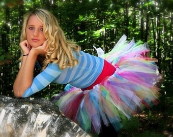 Bold Rainbow Tulle Skirt - Party Punch SEWN Tutu -  6 bright colors - Short length -  for parties, pictures, weddings, housework, FUN