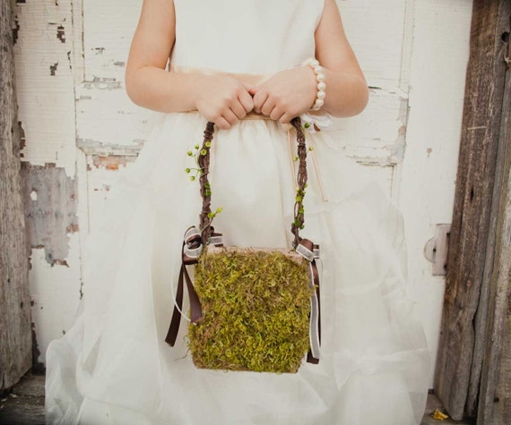 Small Moss Flower Girl Basket for your Nature Wedding