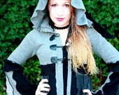 Custom Recycled Sweater Coat with a Medieval Liripipe Hood by SnugglePants