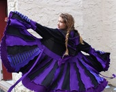 Recycled Black and Purple Sweater Coat with a Medieval Liripipe Hood by SnugglePants- Reserved