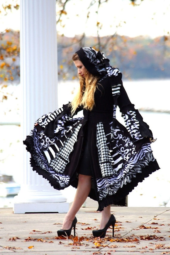 Custom Recycled Black and White Sweater Coat with a Medieval Liripipe Hood and Bell Sleeves by SnugglePants- Jour et Nuit