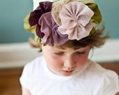 Plum lace parade Snugar hat for baby or little girl- Snugars classic stretchy hat in soft green