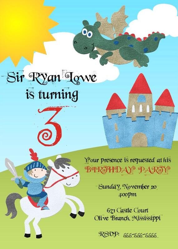 Knight Birthday Invitation -- Printable Digital File