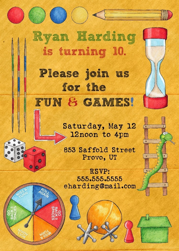 board games birthday party invitation printable by