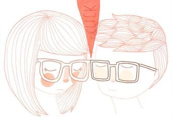 Nerd Kiss -  Illustration Print