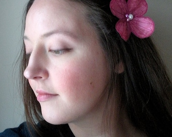 Water Clover Hair Clip- Your Choice of Hair Clip, Bobby Pin, or Brooch- Cerise Pink with Fuchsia Embroidery- Pink Hair Flower