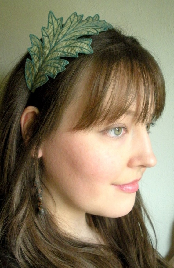 Oak Leaf Headband- Shimmering Sage Green with Teal Embroidery