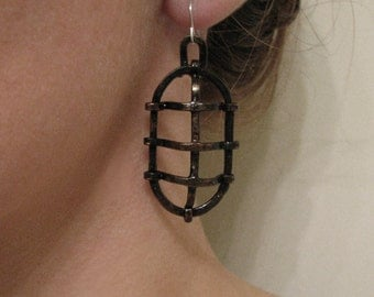 Black Cage Earrings - Oxidized Copper - Mechanical - handmade jewelry - handmade in Austin, Tx