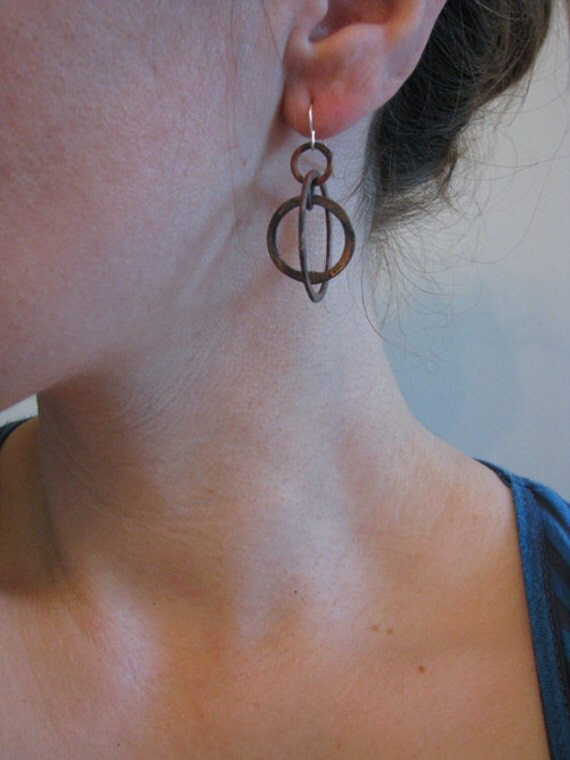 Copper Hoop earrings - Astronomical - Astrolabe Sundial Jewelry -  Petite Armillary Earrings - handmade jewelry - handmade in Austin, Tx