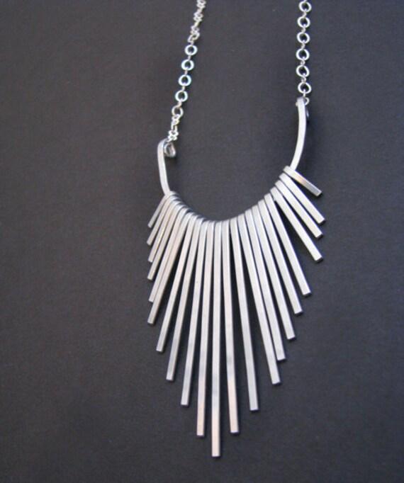 Aluminum Freya Fringe Necklace - elegant and light- handmade in Austin, Tx