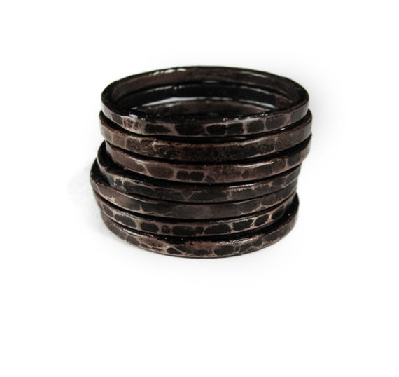 Copper Stack Rings Set - SEVEN Blackened Rings - Hammered - Sealed - handmade jewelry - handmade in Austin, Tx