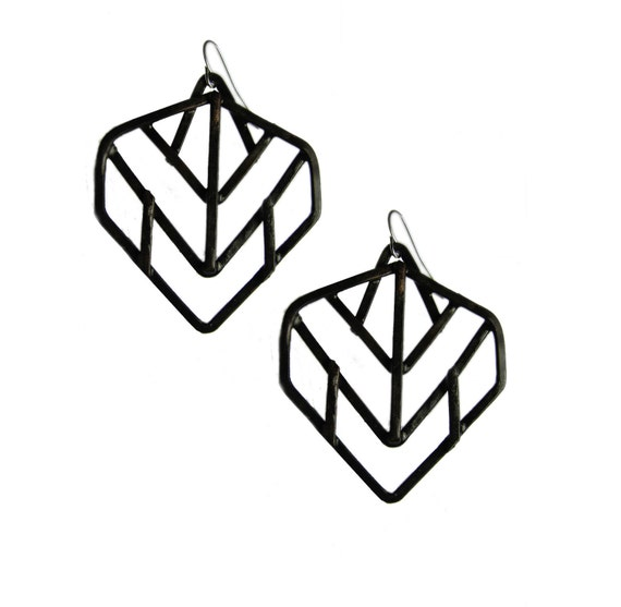 Geometric Earrings - Leaf Design - Black Finish - Art Deco and Prairie school revival -  jewelry made in Austin, Tx
