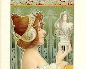1917 French Poster Art Print - Vintage Antique Home Decor Book Plate Art Illustration for Framing