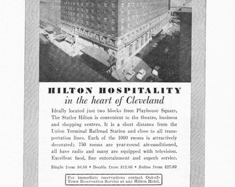1950s Hotel Advertisement - Statler Hilton Cleveland Ohio - Vintage Antique Retro 50s Era Pop Art Ad for Framing 50 Years Old