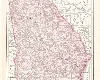 1908 State Map Georgia - Vintage Antique Map Great for Framing 100 Years Old