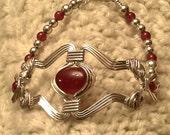 Bracelet Sterling Silver Carnelian Wire Wrapped Renaissance Celtic
