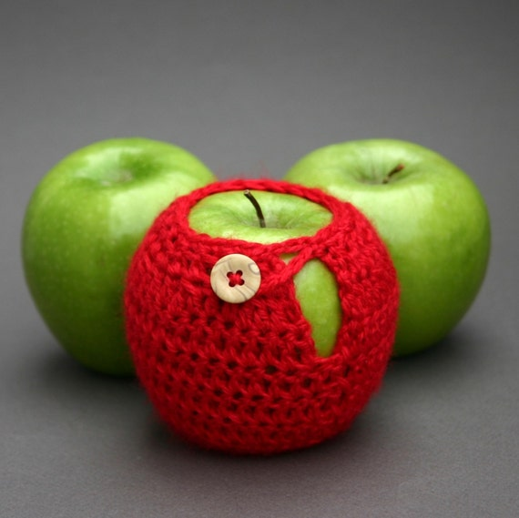 Red Apple Cozy Crochet Fruit Zakka knit Teacher gift lunchbox
