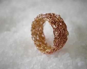 Statement crochet ring // Lace in gold  red and yellow crochet ring // size 5.5