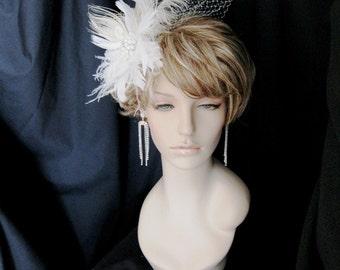 Wedding Veil, Bridal Birdcage Veil, Wedding Fascinator, Wedding Veil and Fascinator for Scarlett's Veil and Headpiece