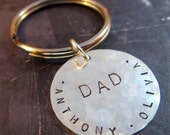 Personalized Keychain - Keyring - Hand Stamped Sterling Silver  - 1 inch - Great Father's Day Gift, Graduation Gift, Groomsmen Gift