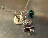 Turtle Necklace - Turtle Hand Stamped Jewelry - Turtle Pendant Charm with Initial and Swarovski Crystal - Charm Chain