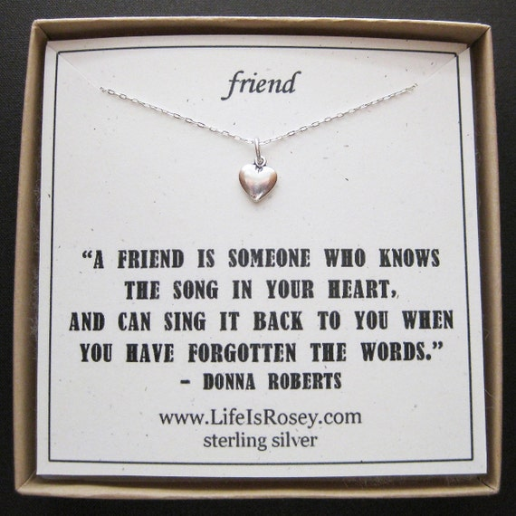 Friendship Quotes Jewelry: Items Similar To Friend Necklace Card