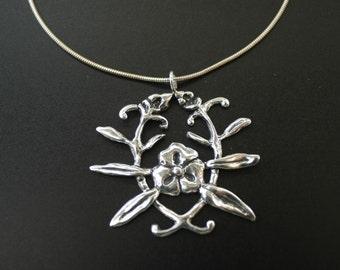 Flower Emblem Necklace in Sterling Silver