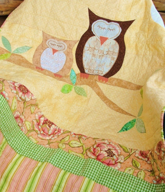 owl baby quilt / wall quilt- CUSTOM ORDERS - ''How Big is the Sky''