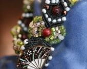 CLEARANCE Markdown ~ Orient Delight Beaded Macrame Bracelet with Lovely Fan Button and Tassel