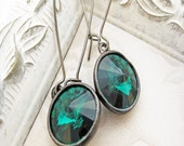 Emerald Earrings, Swarovski Earrings, Crystal Earrings, Rivoli Earrings