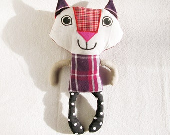 Plush Cat Recycled Fabric Doll Patchwork