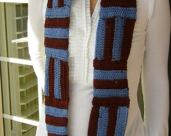 Eco-friendly parquet scarf in brown and blue