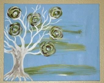 flowered tree on blue