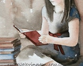 ORIGINAL Portrait PAINTING Girl Reading 5 x 7 Original painting of girl reading book in watercolor