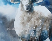 blue nursery art SHEEP PRINT from watercolor sheep (kids art print) 8 x 10 baby boy lamb painting in blue white gray grey