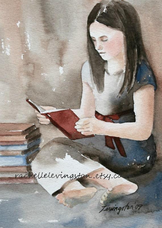 ORIGINAL Portrait PAINTING Girl Reading 5 x 7 Original painting of girl reading book in watercolor