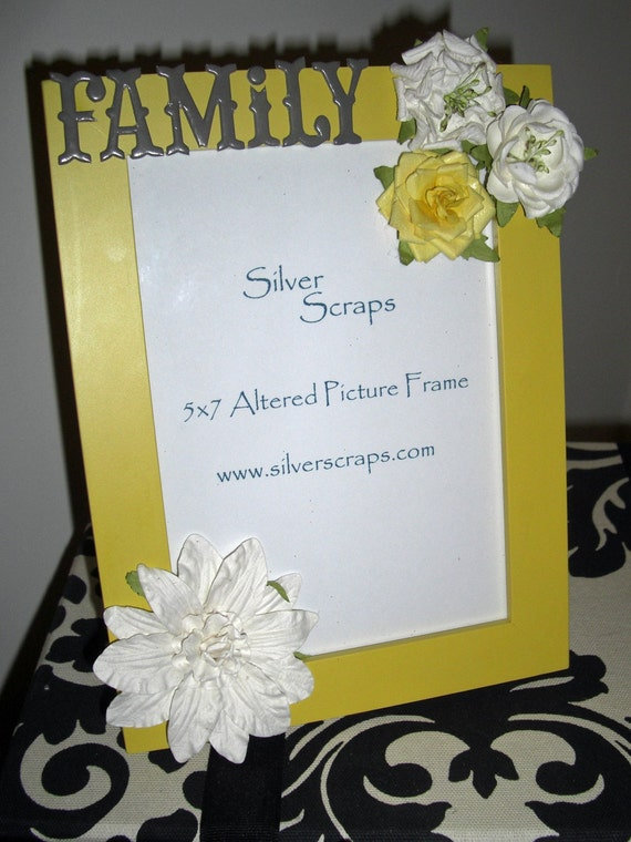 Family. Altered 5x7 Picture Photo Frame - Gray, Grey, Ivory, Yellow - Flowers, Floral, Children, Kids, Reunion, Love, Shabby Chic