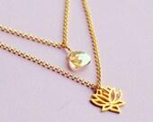 Lotus Double Strand Swarovski Necklace - Golden Shadow Swarovski on 14kt Gold Filled