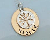 Tree of Life Sterling Silver with Personalized Name 14kt Gold Filled Pendant Necklace - Bridesmaids Bridal - Hand Stamped