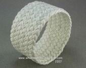 extra wide handmade woven cuff bracelet rope jewelry rope bracelet wristband white herringbone weave turks head knot  1557