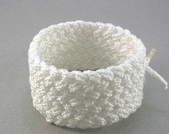 wide white nylon herringbone rope bracelet hybrid weave armband turks head knotted armlet 1472