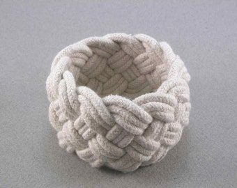 white cotton rope bracelet turks head knot nautical bracelet handwoven cord armband rope jewelry 3087
