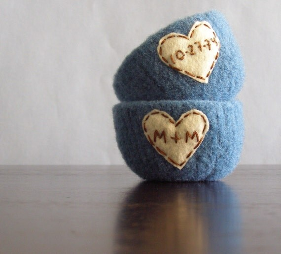 personalized just for you - felted wool bowl with felt heart and embroidered initials or short name - ready to ship by 2 weeks from purchas