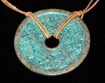 2 Sided Copper Medallion and Leather Necklace