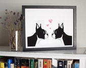 Boston Terriers in Love art print - 8x10 giclee