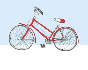 Bicycle Art. Red Schwinn bicycle illustration.